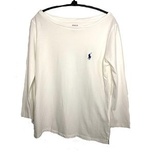 Polo Ralph Lauren Boatneck 3/4 Sleeve Tee White S